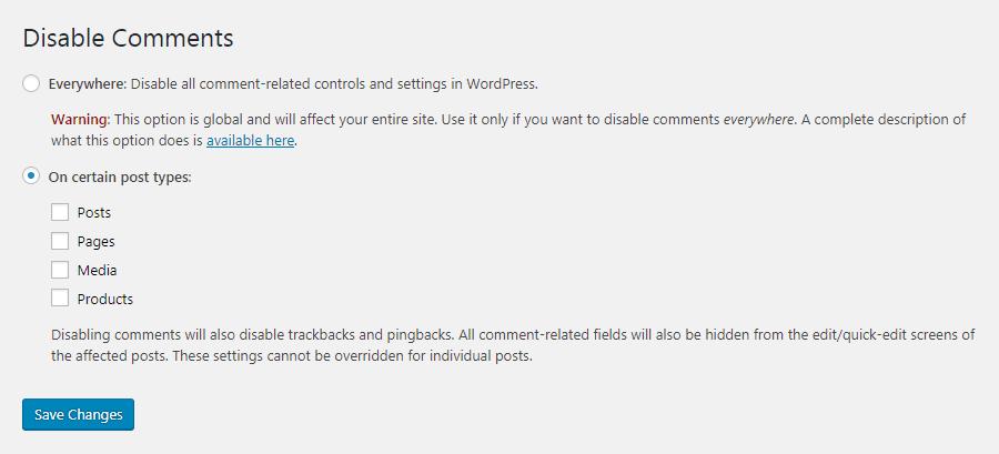 La configuración del plugin Disable Comments
