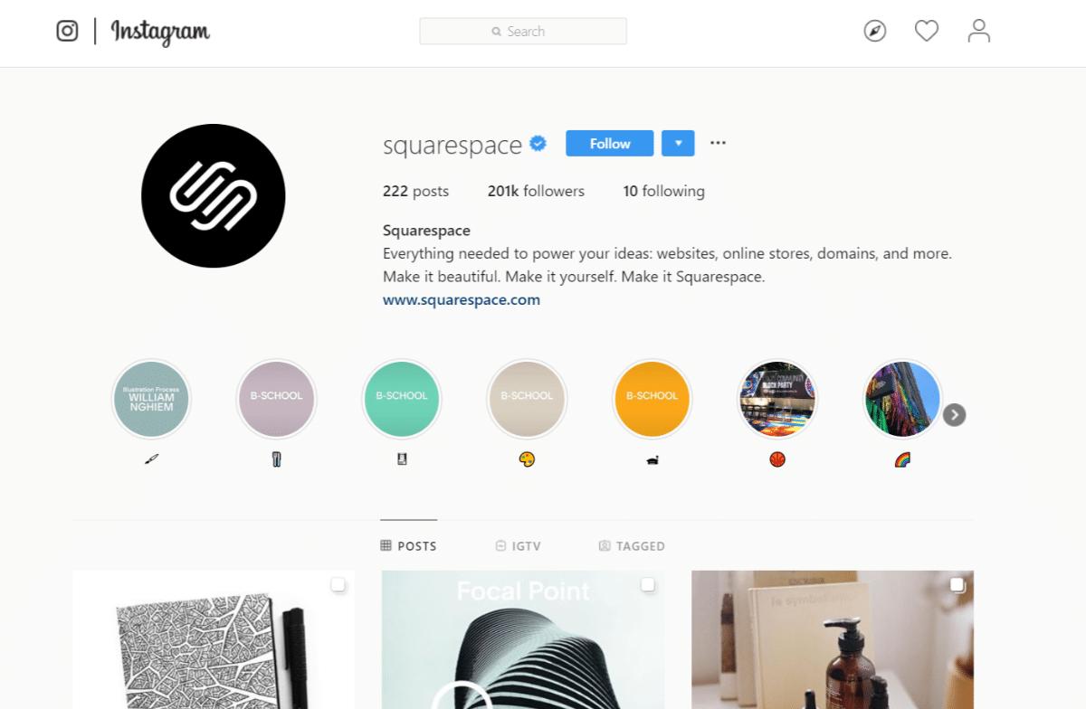 Cuenta de Squarespace Instagram