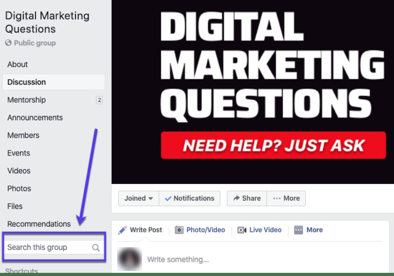 Digital Marketing Questions es un grupo popular de Facebook