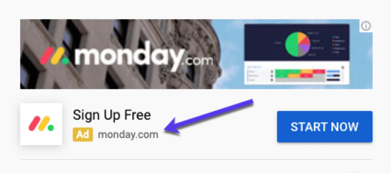 Un ejemplo de un anuncio de YouTube