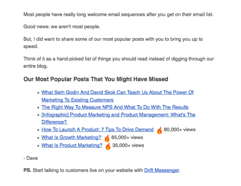 Ejemplo de correo electrónico de bienvenida de Drift