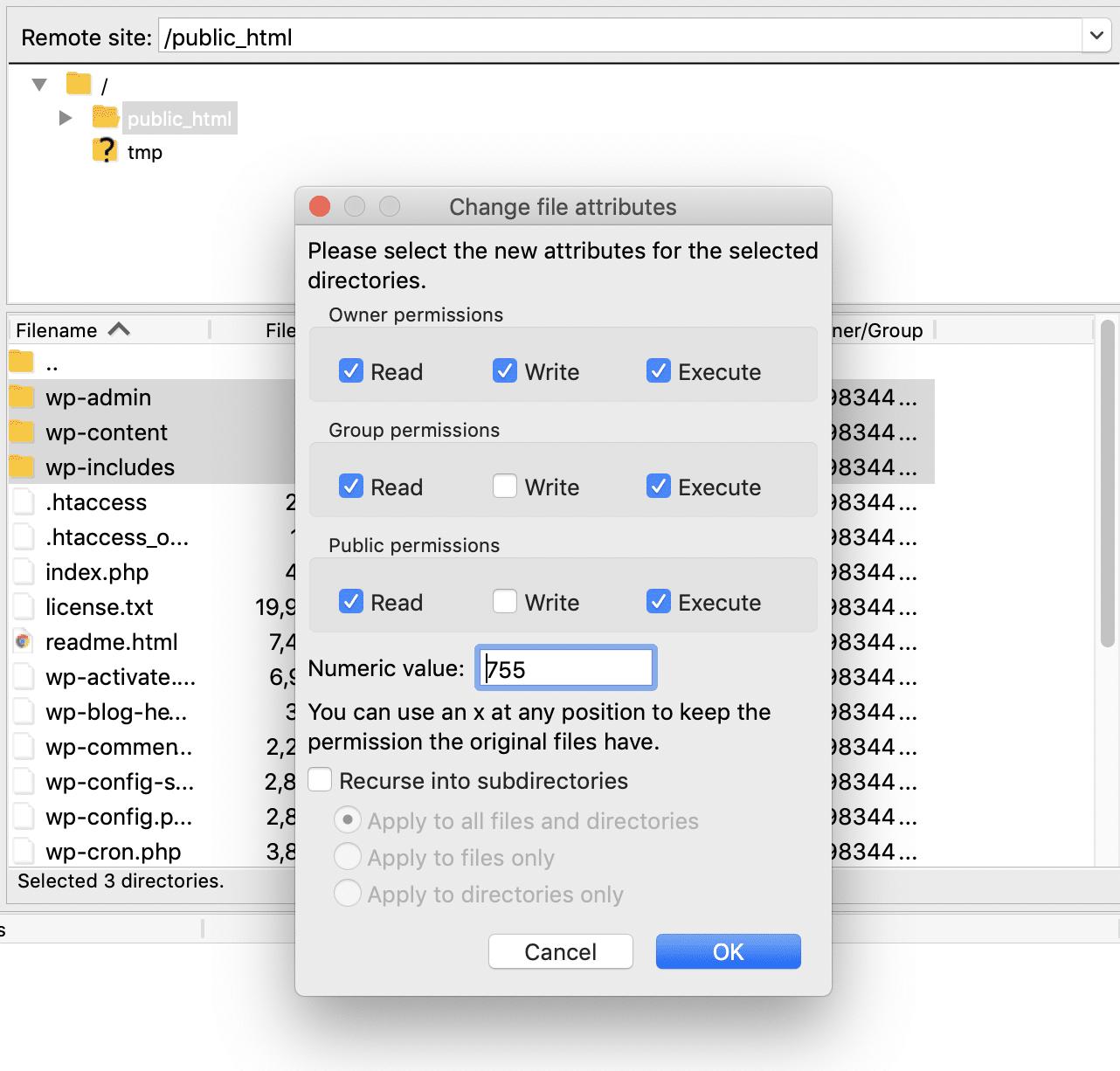 Establecer los permisos de archivo correctos a través de FTP