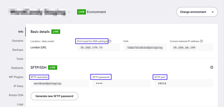Acceso a las credenciales FTP del sitio en MyKinsta