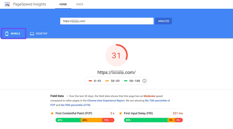 Pestaña de móvil en Google PageSpeed Insights