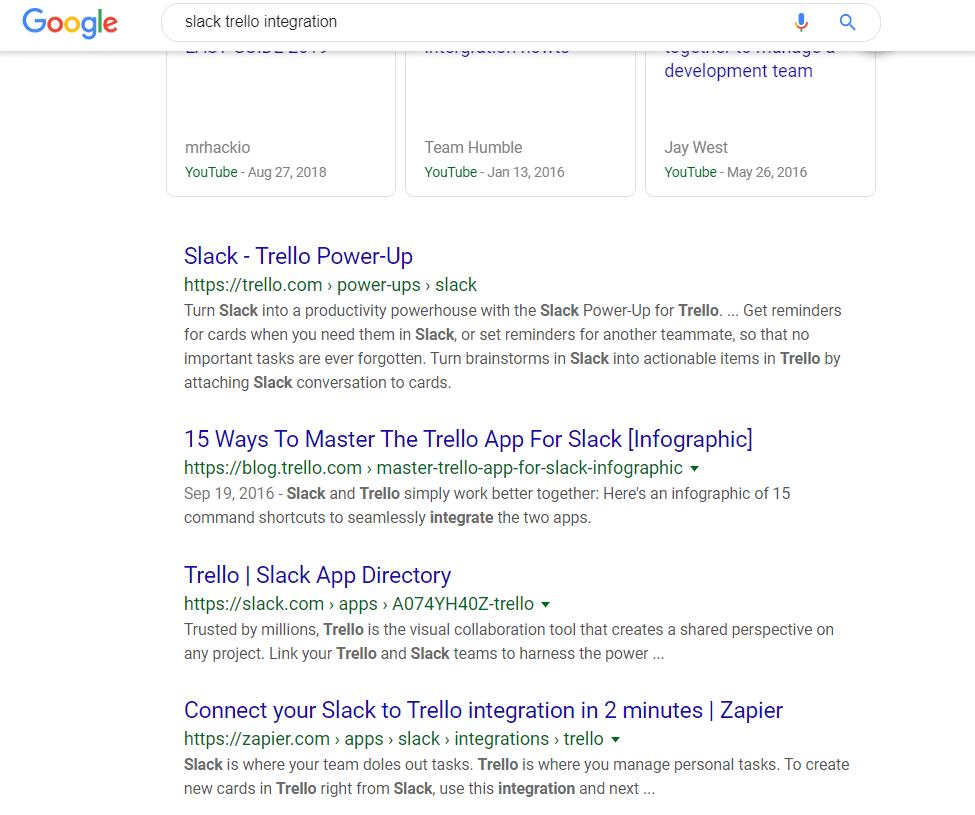 """Las SERPs de Google para la """"integración de Slack Trello"""""""