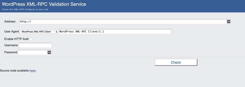 Servicio de validación de WordPress XML-RPC