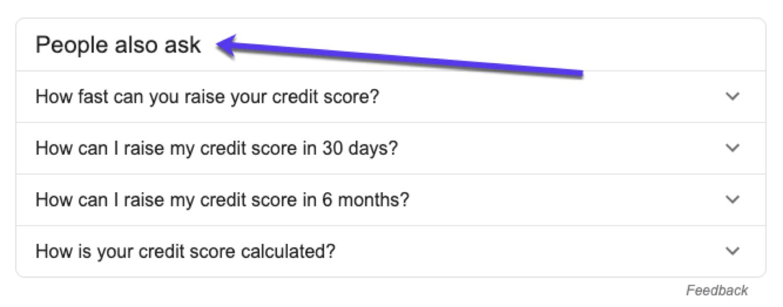 Usando la gente de Google también piden recuadros para la investigación de palabras clave