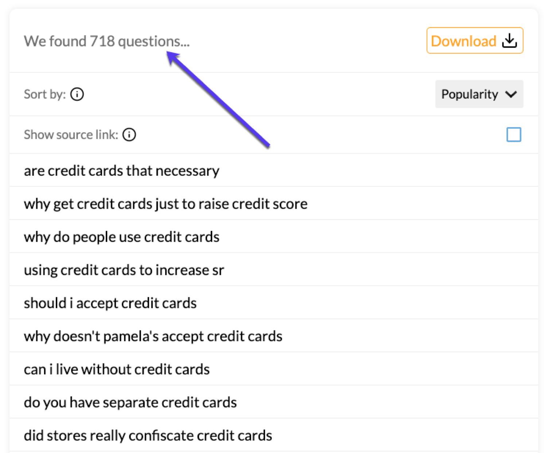 Utilice QuestionDB para obtener un montón de palabras clave que la gente está preguntando.