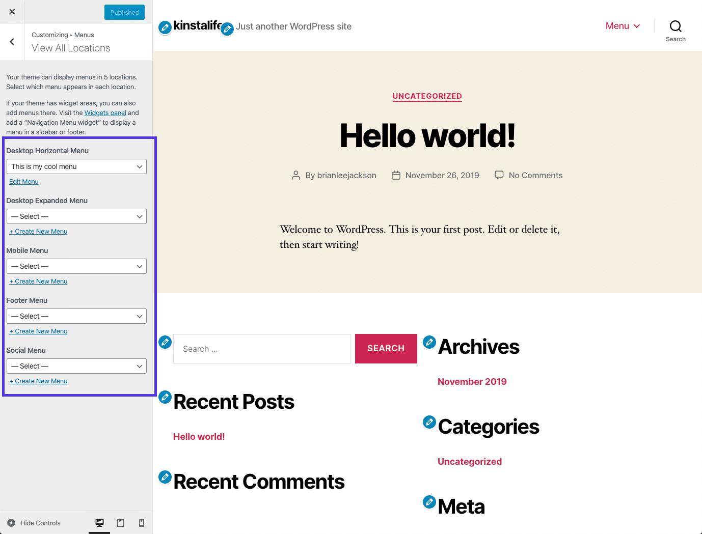 Una vista previa en vivo del menú de WordPress en el Personalizador