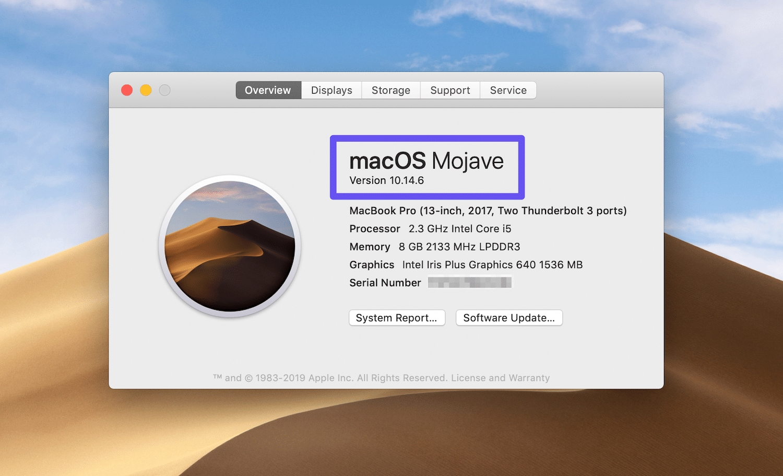 Visualización de la versión actual de MacOS
