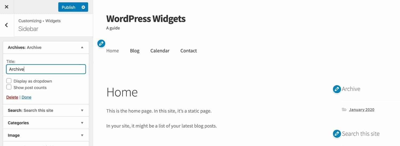 Edición de widgets en el Personalizador