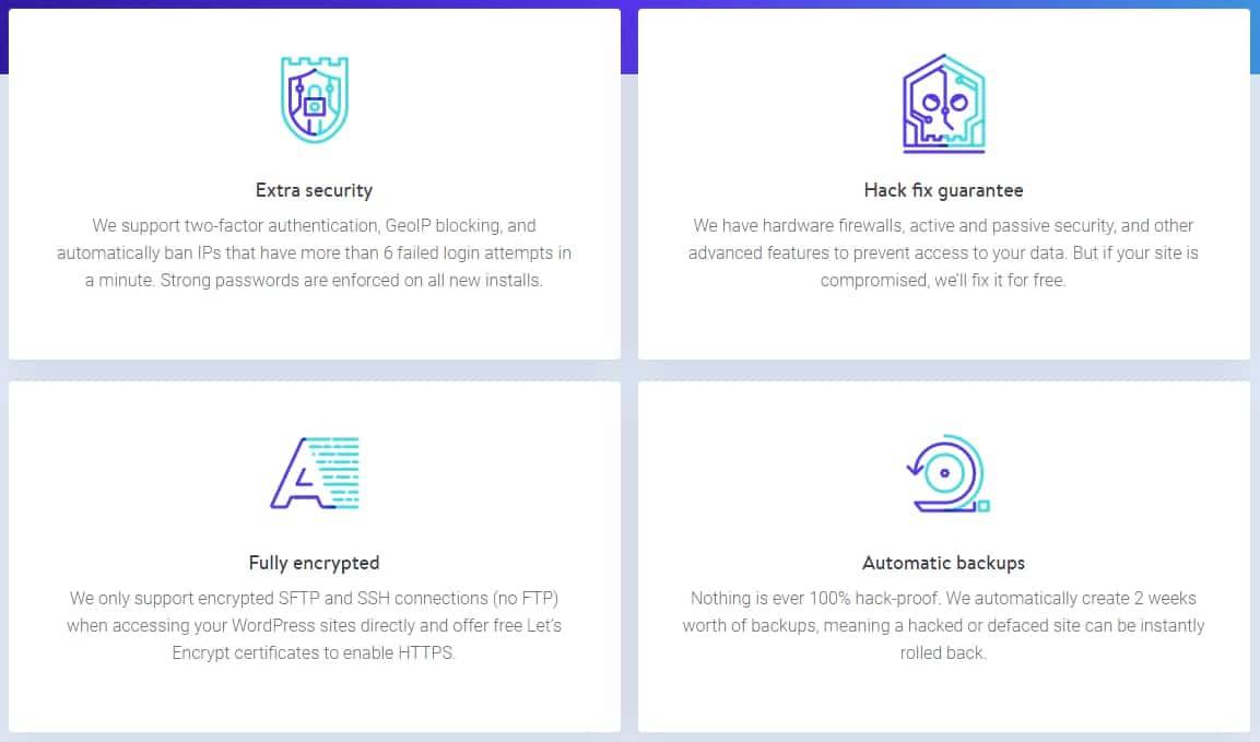 Características de seguridad del hosting