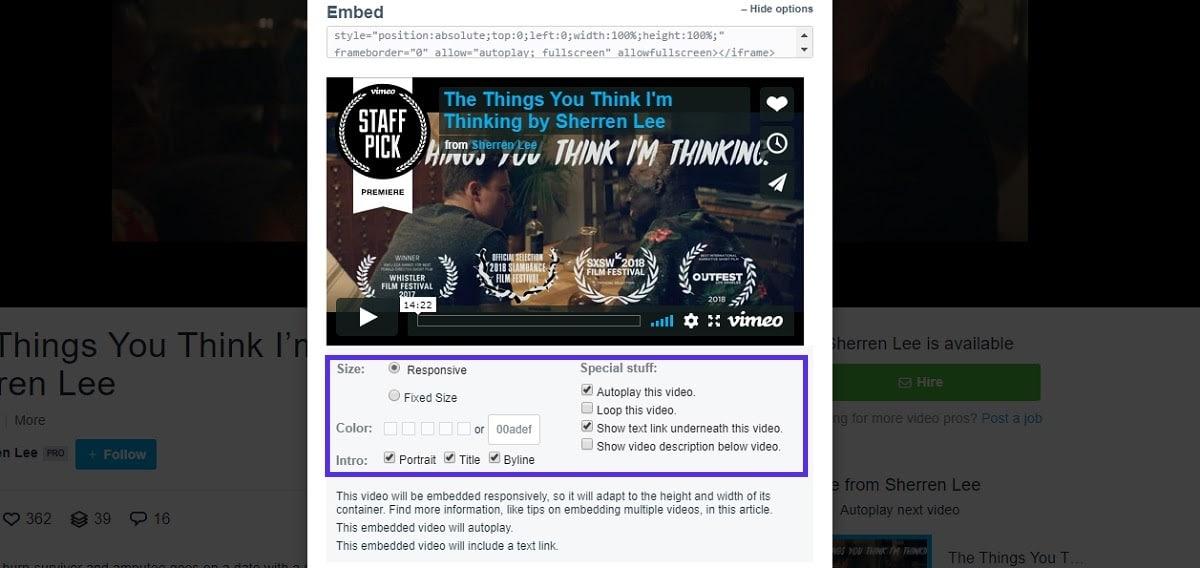 Opciones de incrustación en Vimeo