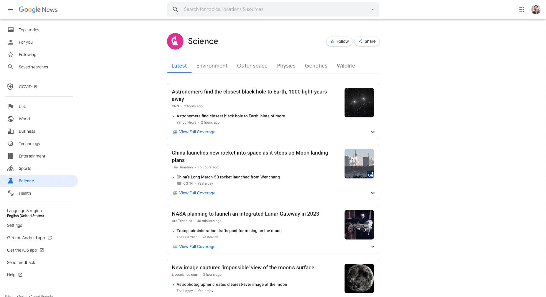 Una página de ejemplo de historias de ciencia en Google News