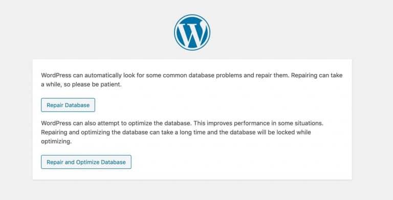 Página de reparación de la base de datos