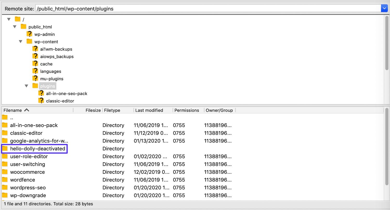 Un plugin desactivado en FileZilla