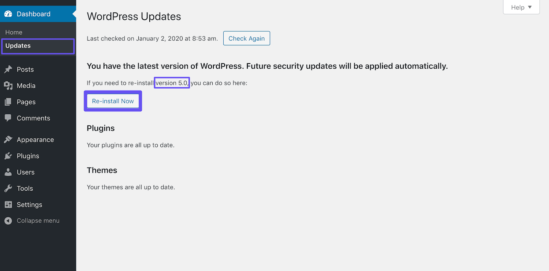 Reinstalando WordPress 5.0