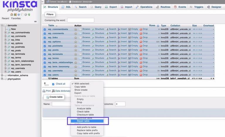 Reparando la base de datos en phpMyAdmin