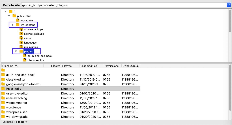 El subdirectorio Plugins en FileZilla