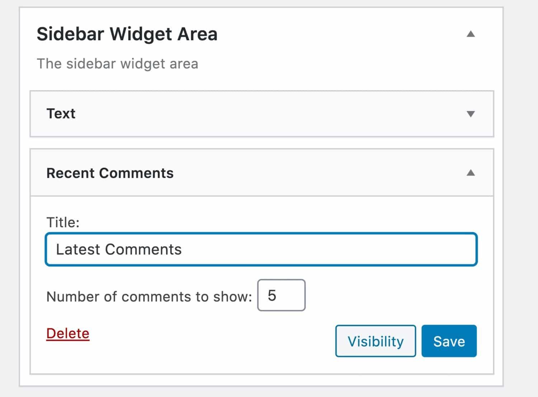 Widget de comentarios recientes