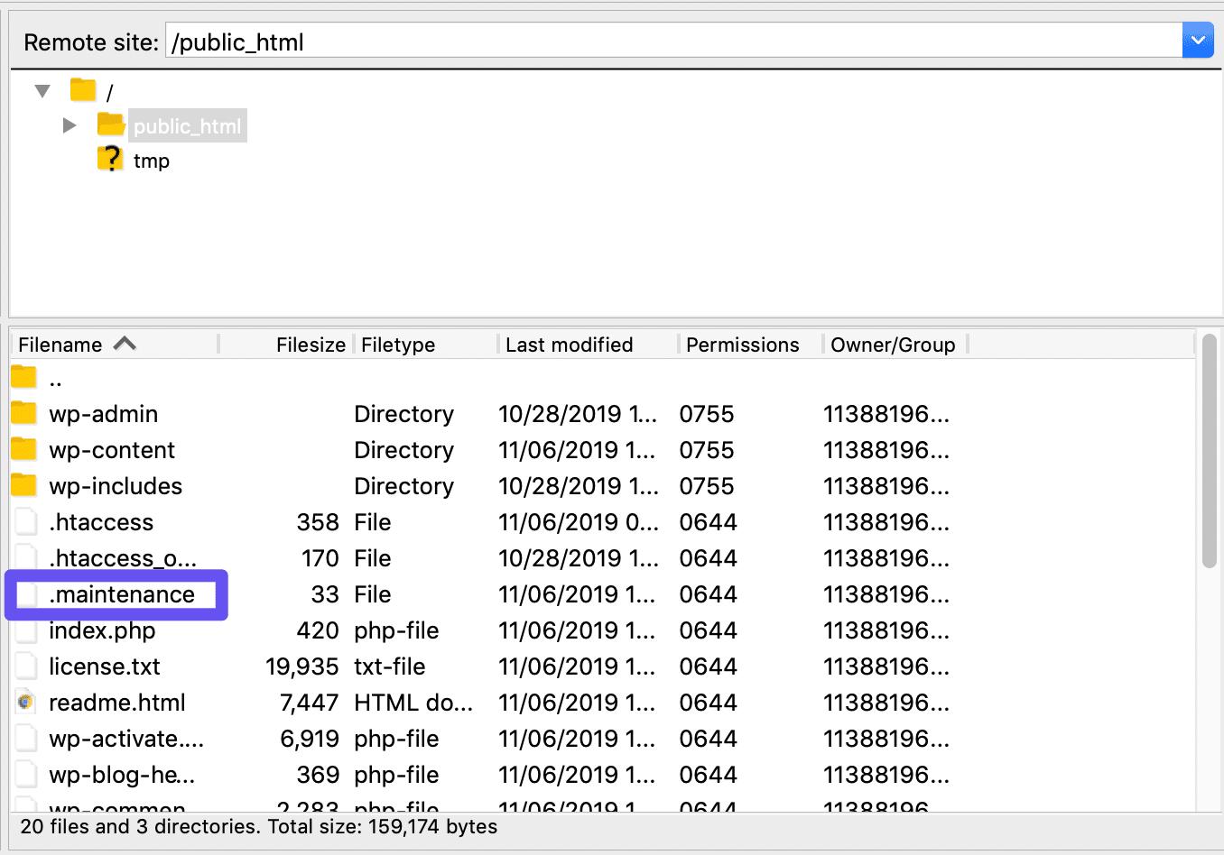 El archivo .maintenance en FileZilla