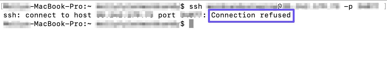 La conexión rechazada mensaje de error en la terminal