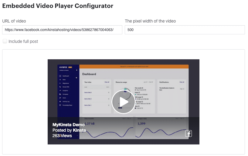 Configurador del reproductor de video de Facebook