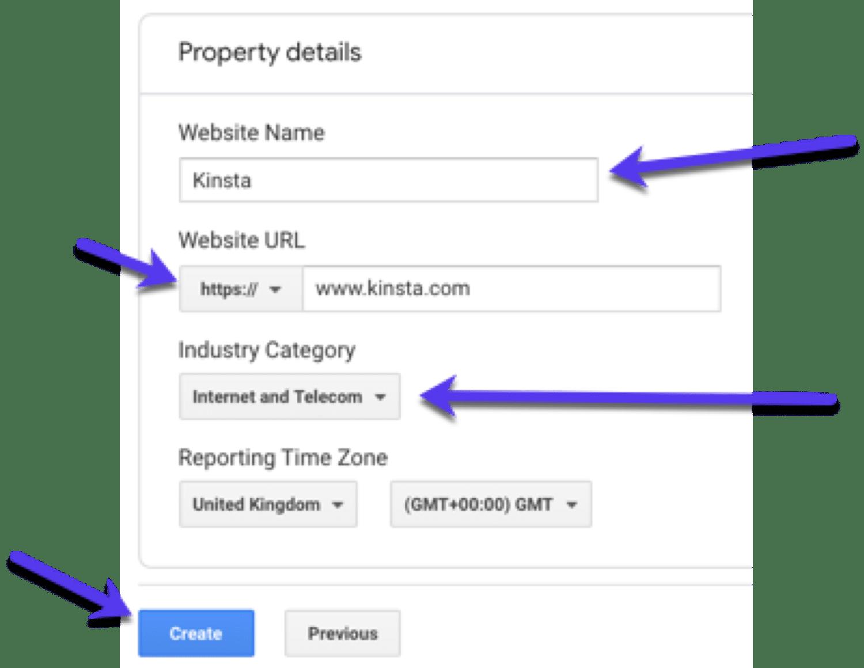 Detalles de la propiedad - añadir información sobre su sitio en Google Analytics