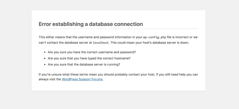 El error al establecer una conexión de base de datos