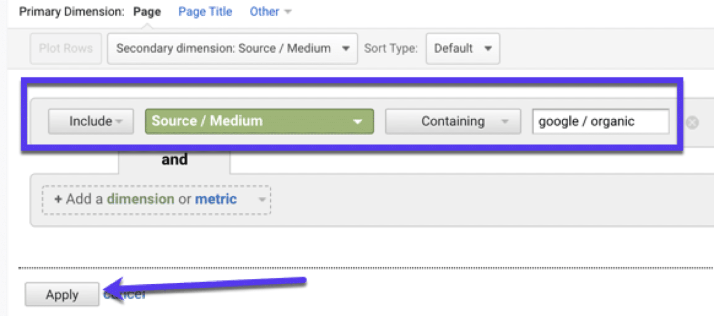 Filtro por tráfico orgánico (alias tráfico SEO) en Google Analytics