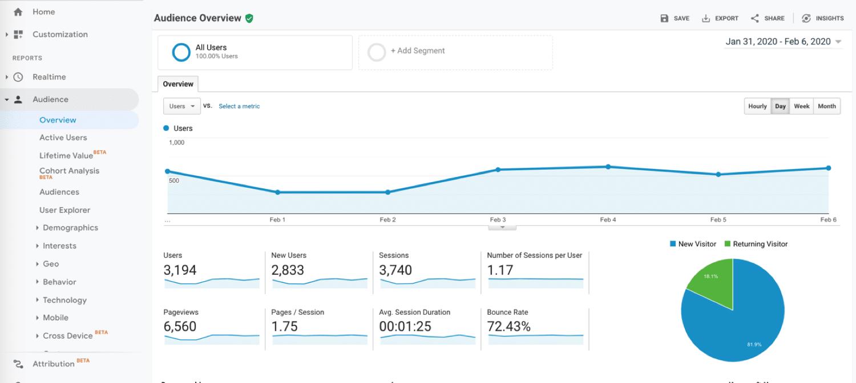 Informe de audiencia de Google Analytics