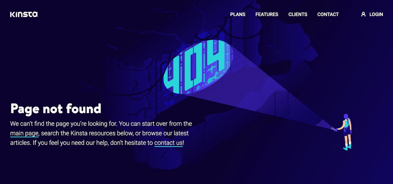 La página de error 404 de Kinsta