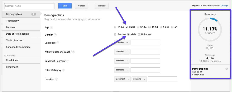Segmentación basada en la demografía en Google Analytics