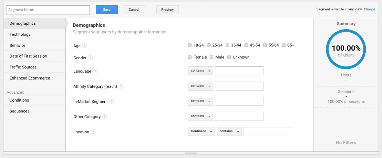 Segmentación de usuarios en Google Analytics