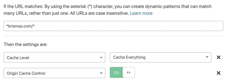 Habilita el control de caché de origen en tu regla de página de Cloudflare.