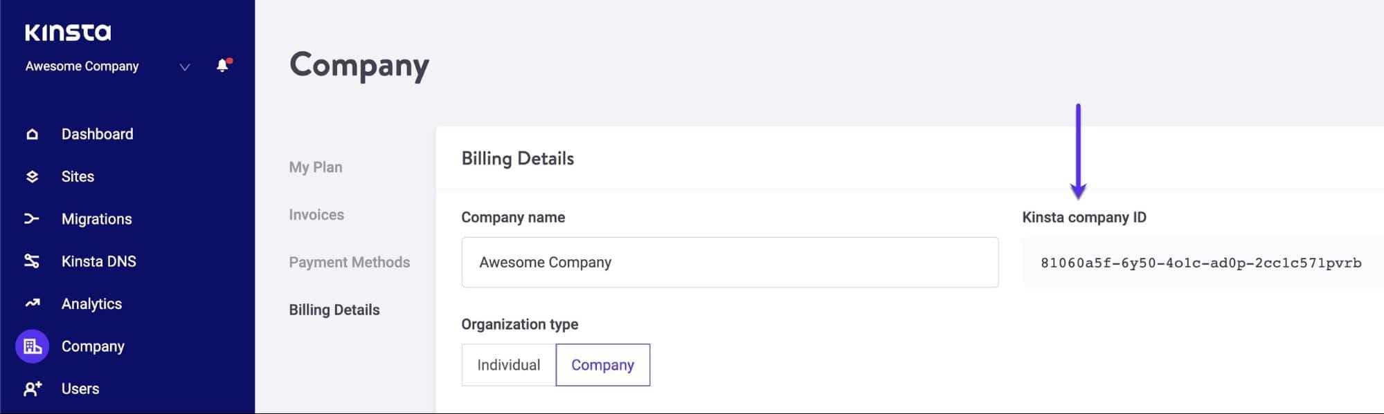 La identificación de la compañía Kinsta en el tablero de MyKinsta