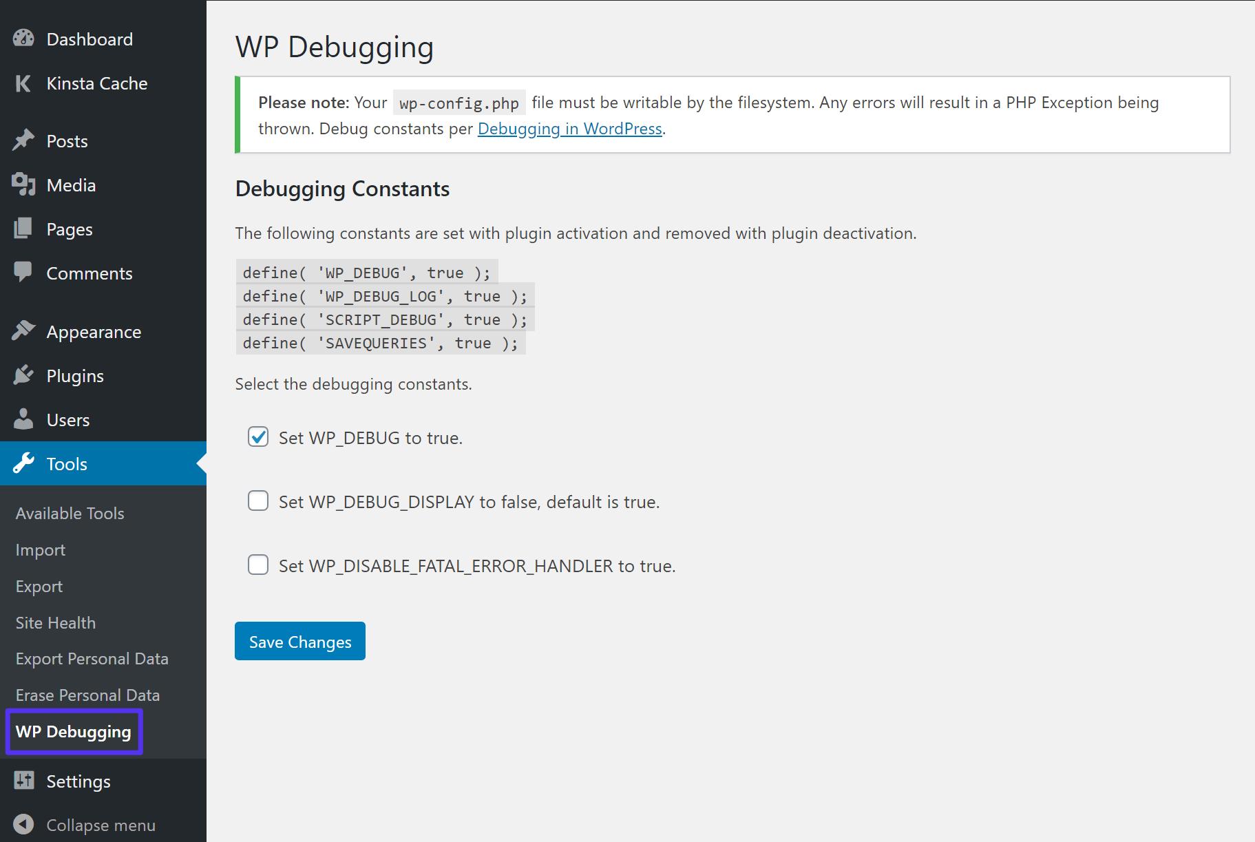 Configuración del plugin de depuración WP