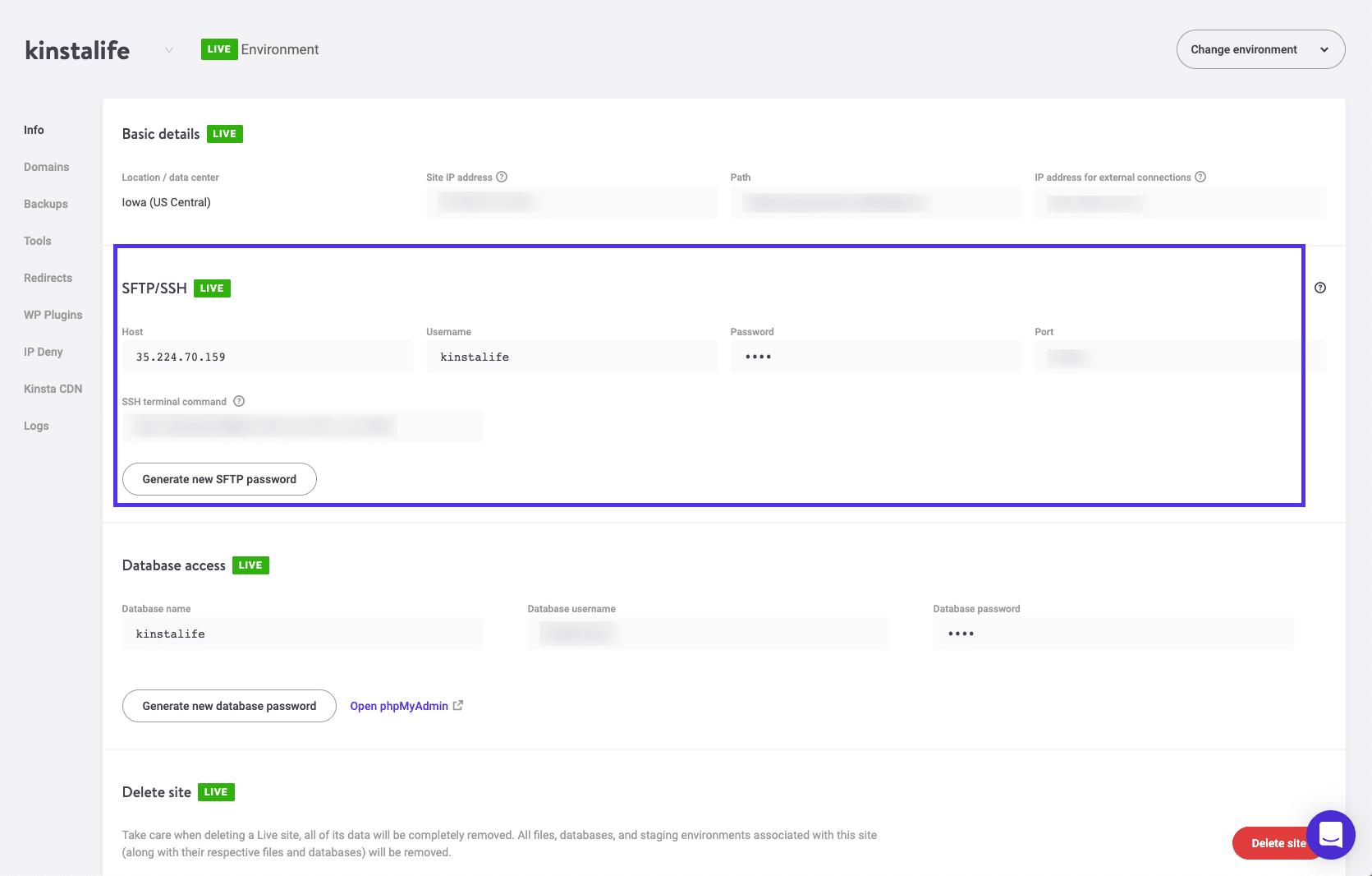 Credenciales de acceso en MyKinsta