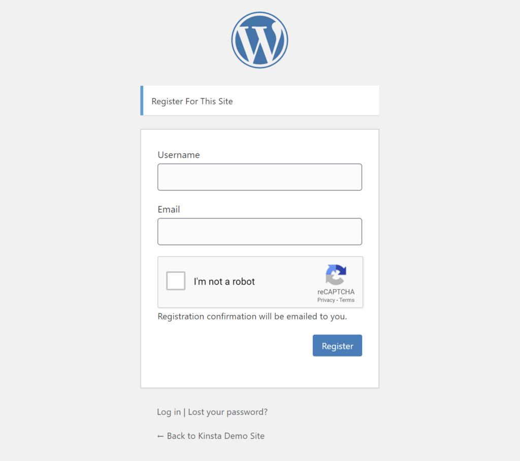 Un ejemplo de reCAPTCHA en el formulario de registro por defecto