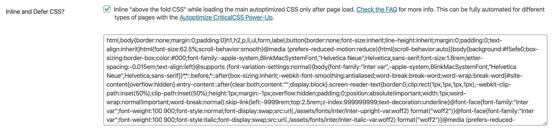 En línea y diferir el CSS en Autoptimización.