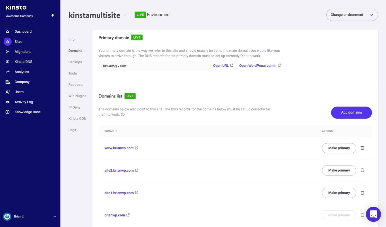 Dominios de múltiples sitios en MyKinsta.