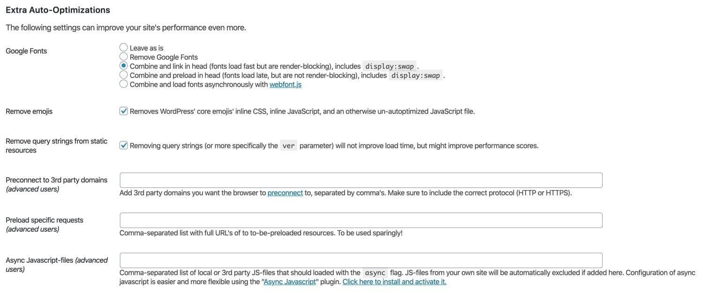 Optimizaciones extra en Autoptimize.