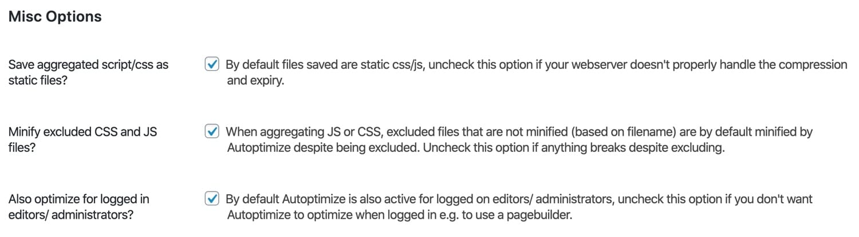 Optimizaciones misceláneas en Autoptimize.