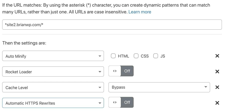 Crear una regla de página Cloudflare selectiva para apuntar a un subsitio de WordPress.