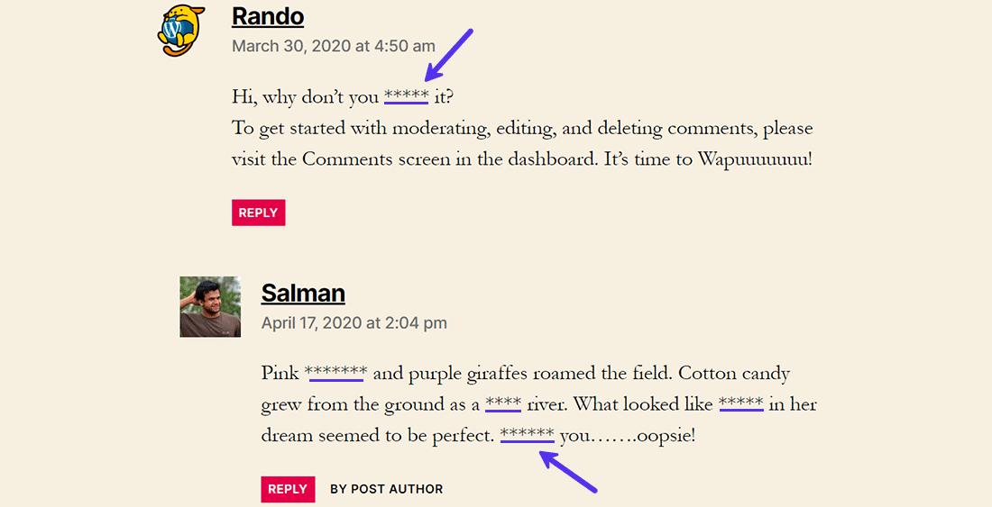 Censurar la blasfemia en los comentarios con símbolos '*'.