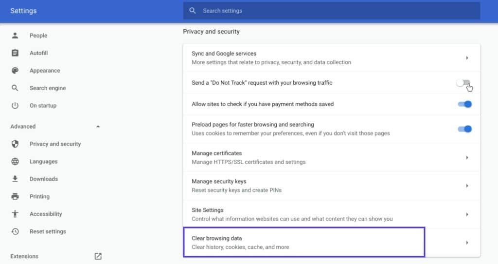 "La sección ""Clear browsing data"" de Google Chrome"