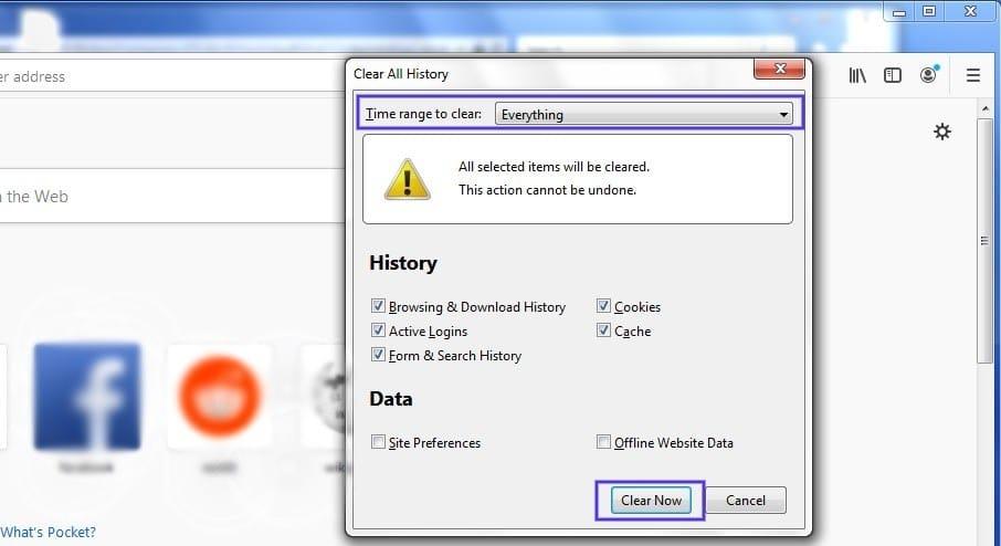 El panel de 'Clear History' en Firefox