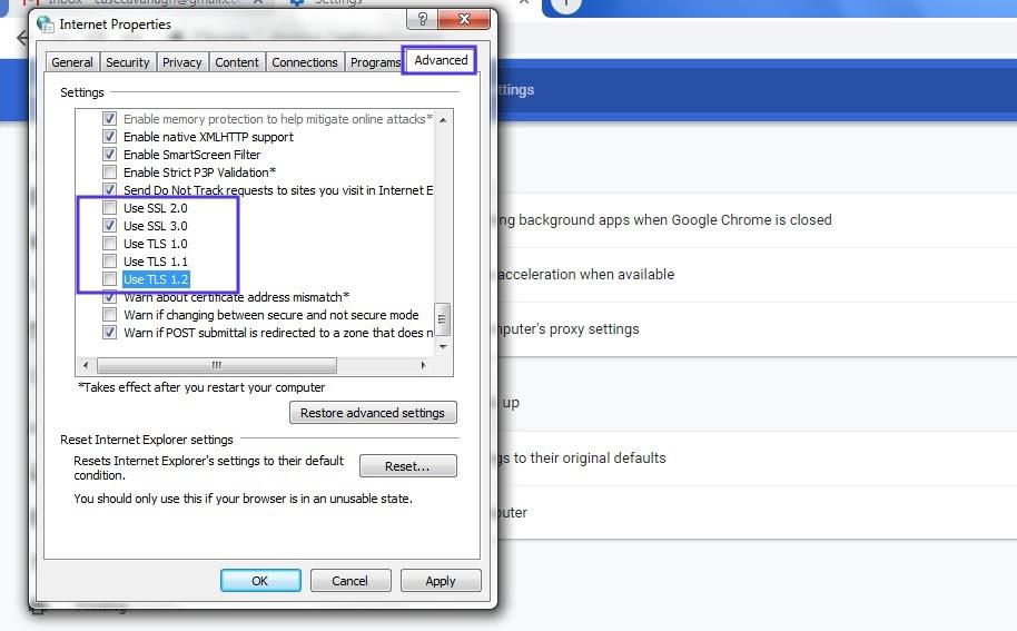 La configuración avanzada de las Propiedades de Internet en Windows