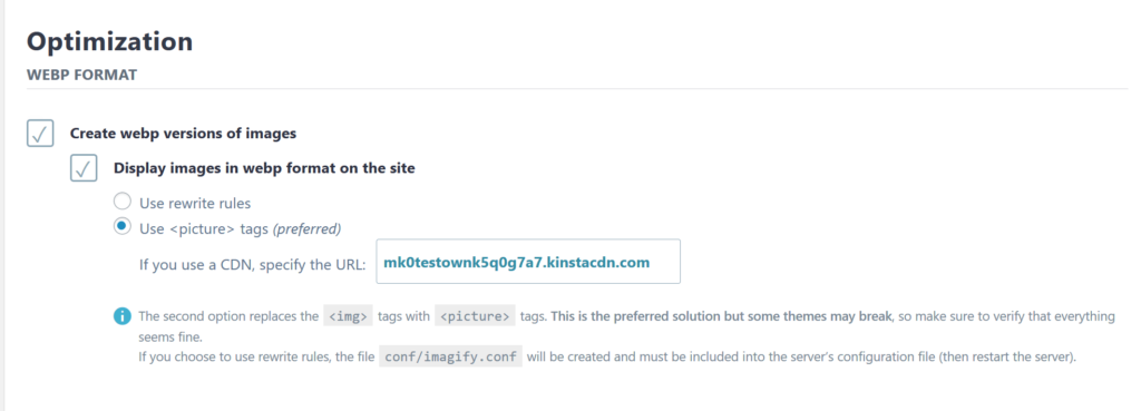 Cómo habilitar las imágenes de WordPress WebP en Imagify