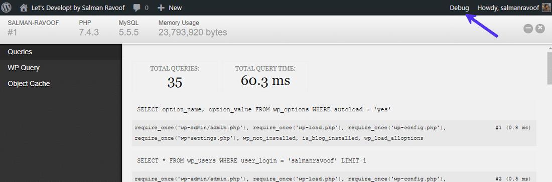 """El menú """"Debug"""" en la barra de administración de WordPress"""